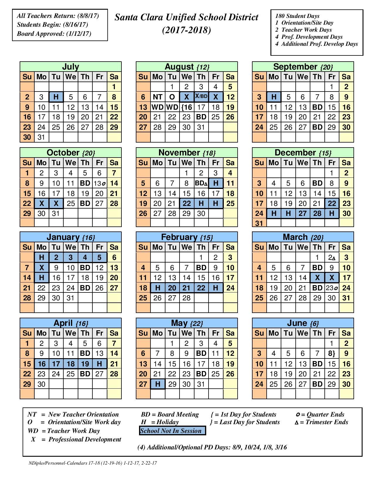 calendars that work 2018